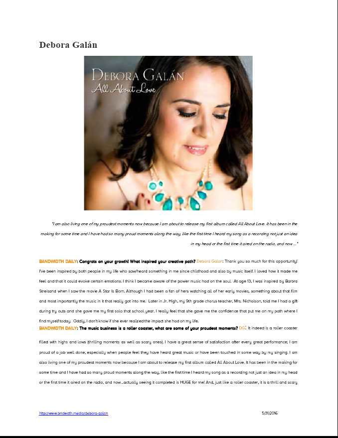 Bandwidth Media Feature - Debora Galan 1